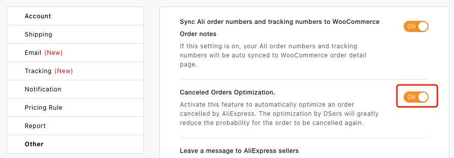 Otimização de pedidos cancelados no AliExpress com Woo DSers - 2 - Woo DSers