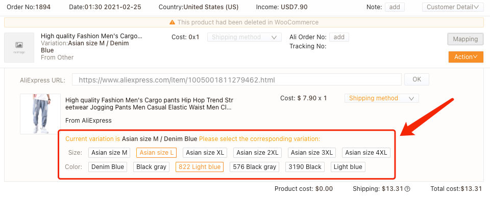Order failure reasons with Woo DSers - Edit your order - Woo DSers
