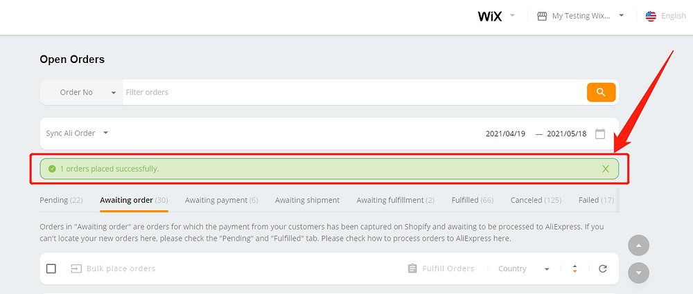 Place an order from WIX to AliExpress - notification - Wix DSers
