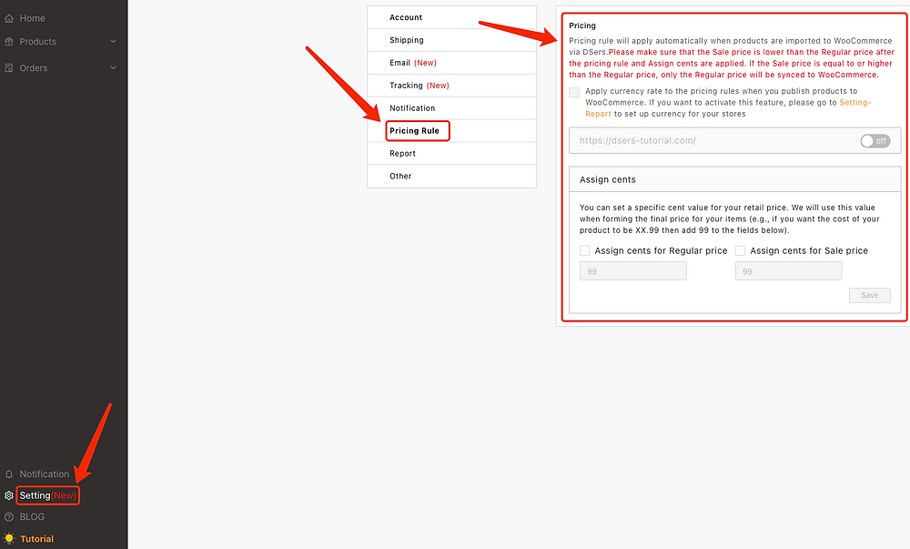 Pricing rules with Woo DSers - Access Pricing Rules - Woo DSers