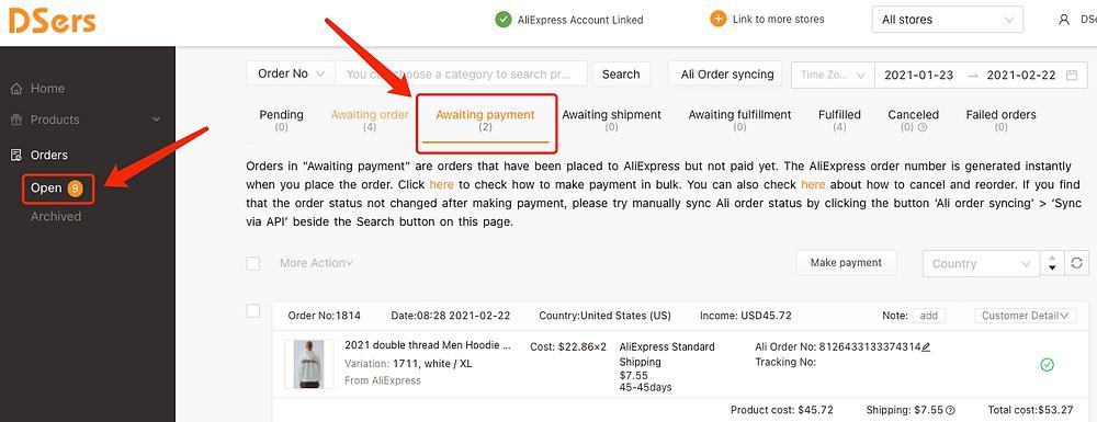 """Refazer pedido """"aguardando pagamento"""" com Woo DSers - 1 - Woo DSers"""