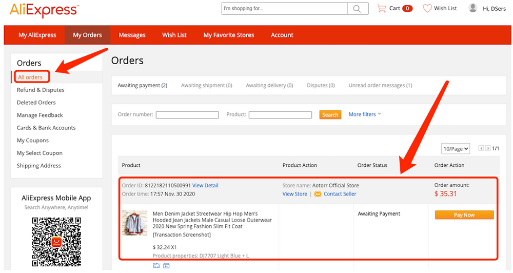 Place an order from WIX to AliExpress - all orders - Wix DSers