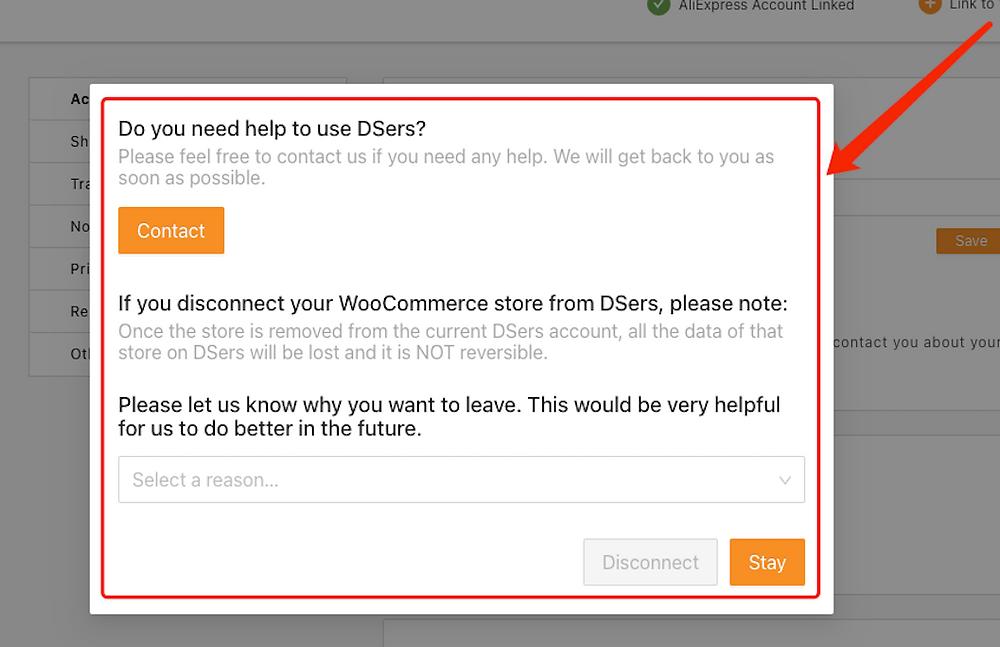 Remover uma loja WooCommerce com Woo DSers - 2 - Woo DSers