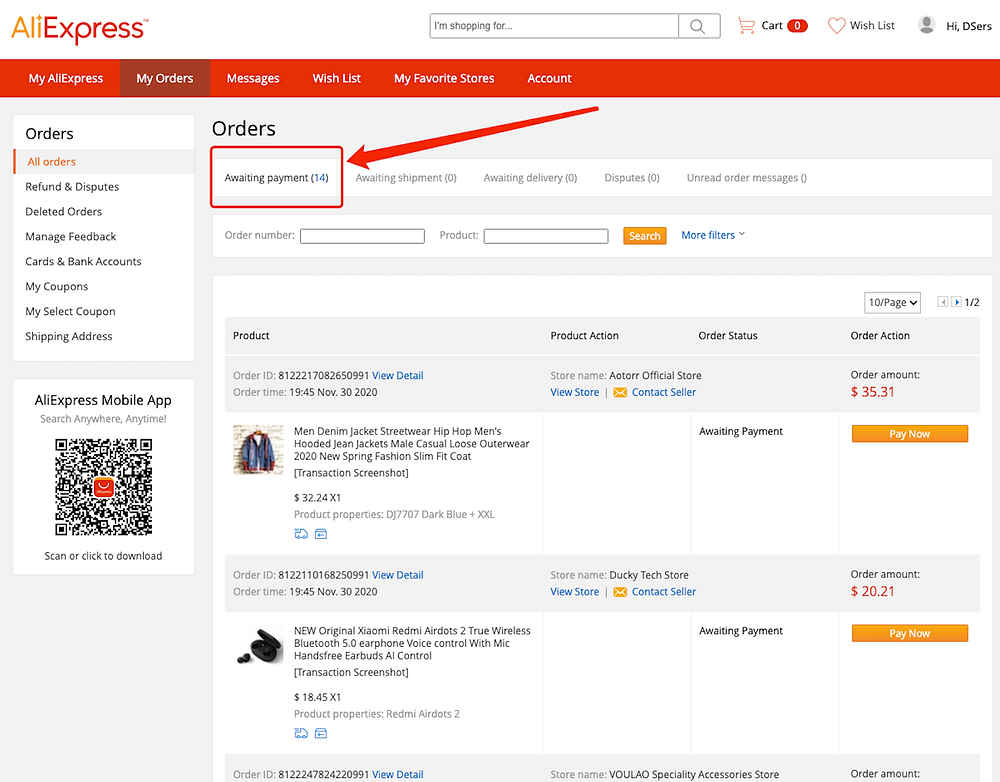 Fulfill multiple orders from start to finish with Woo DSers - AliExpress Awaiting Payment - Woo DSers