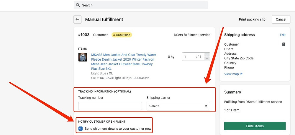Send tracking number manually - Shopify Input Tracking Information - DSers