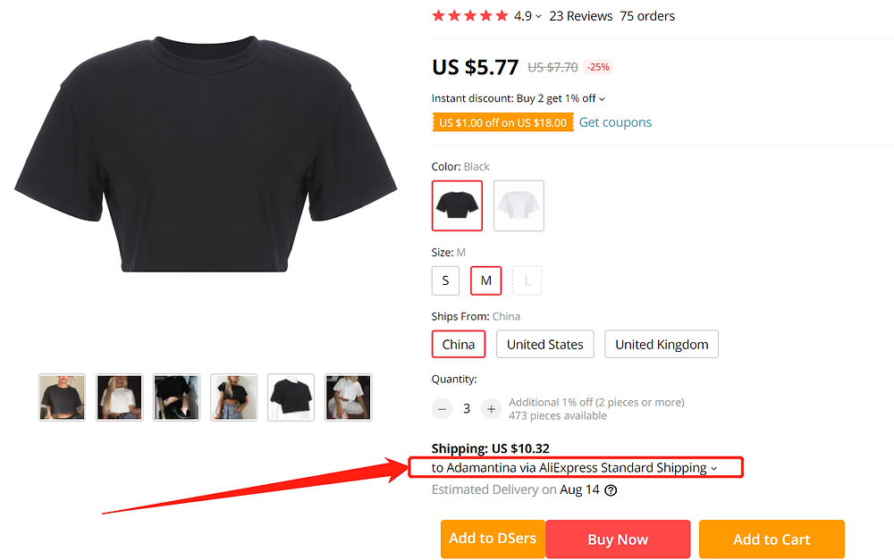 Why can't I select a shipping method with Wix DSers - check ship to in AliExpress page - Wix DSers