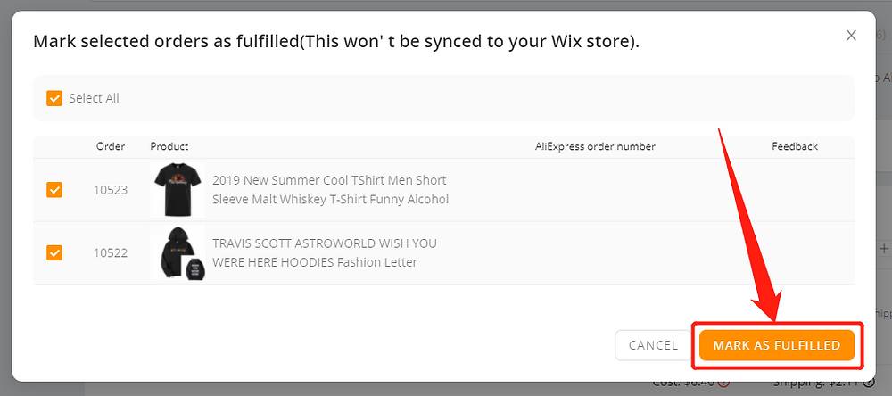 Fulfill orders manually on DSers - Mark as fulfilled - Wix DSers