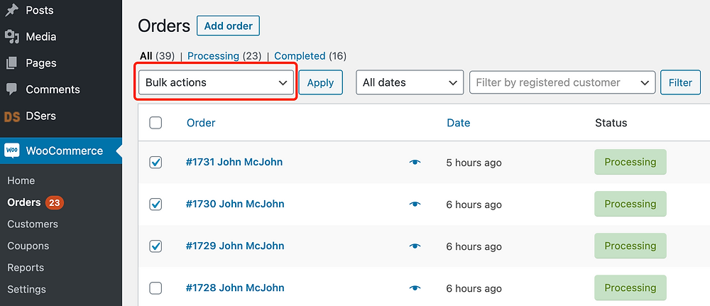 Fulfill orders manually on WooCommerce with Woo DSers - Bulk actions - Woo DSers