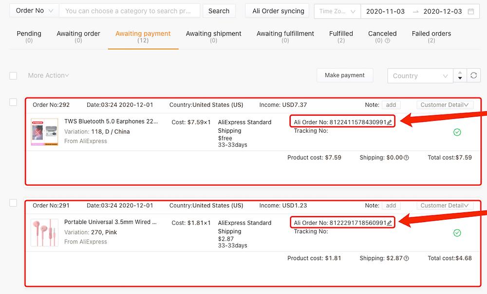 Pagar múltiplos pedidos no AliExpress com Woo DSers - 2 - Woo DSers