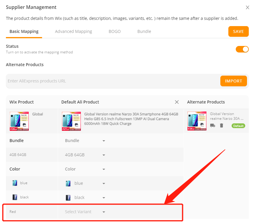 Add a variant to a product with Wix DSers - new added variant - Wix DSers