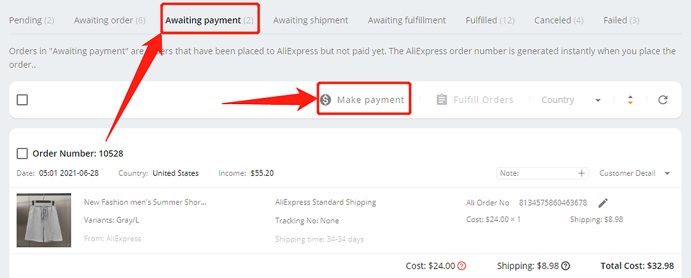 Re-order Awaiting payment orders with Wix DSers - make payment- Wix DSers