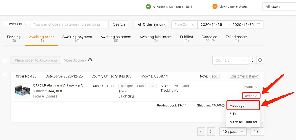 Specific message to an AliExpress supplier with Woo DSers - Click message - Woo DSers