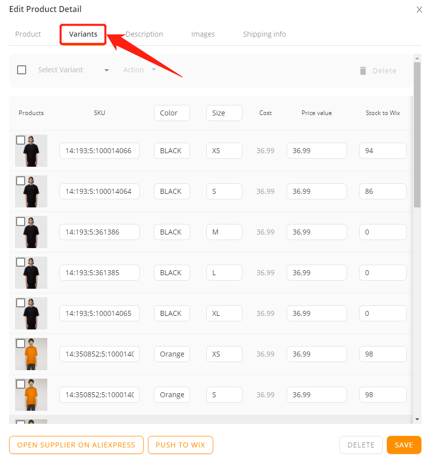 Edit a product on DSers with Wix DSers - variants tab - Wix DSers