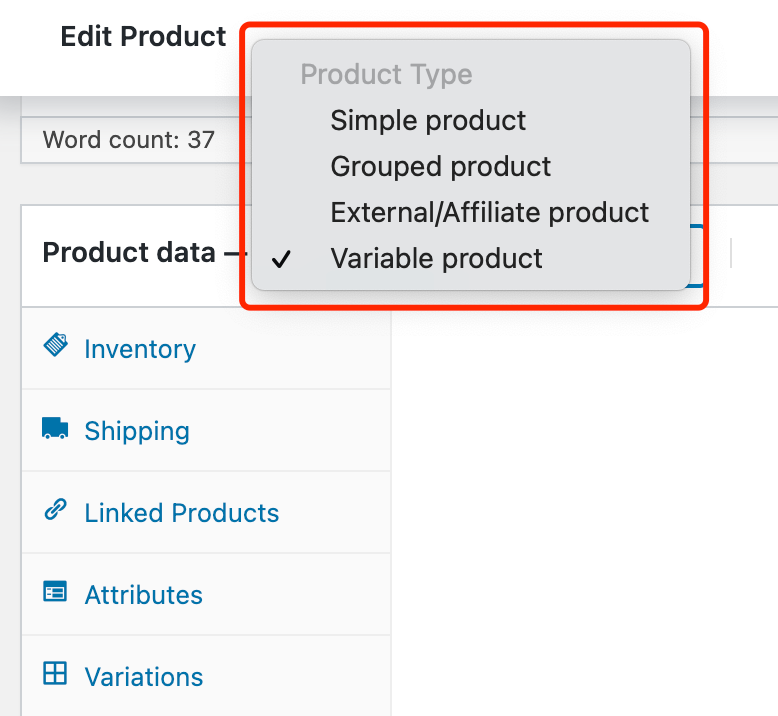 Edit a product on WooCommerce with Woo DSers - Product type - Woo DSers