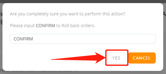 Re-order Fulfilled order with Wix DSers - click ok - Wix DSers