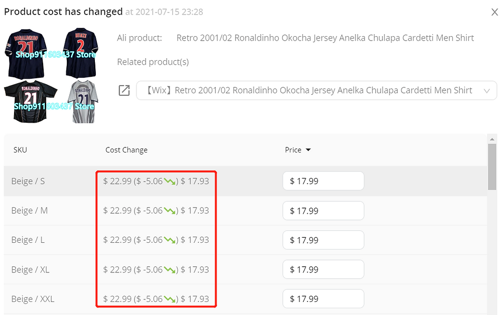 Set notifications for Wix DSers - price changes - Wix DSers