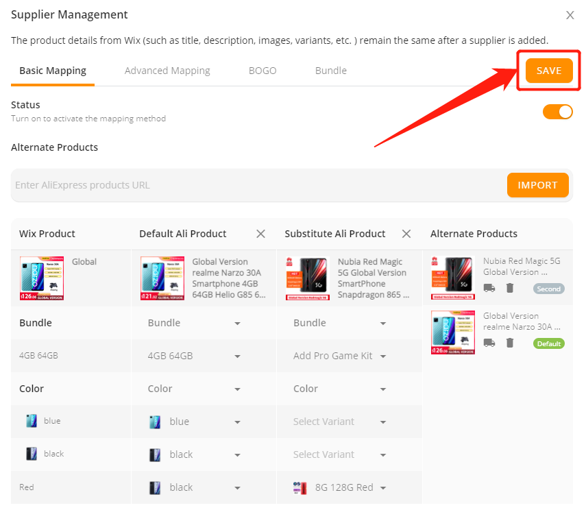Add a variant to a product with Wix DSers - save - Wix DSers