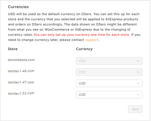 Change and set currency on Woo DSers - Different currencies for each store - Woo DSers