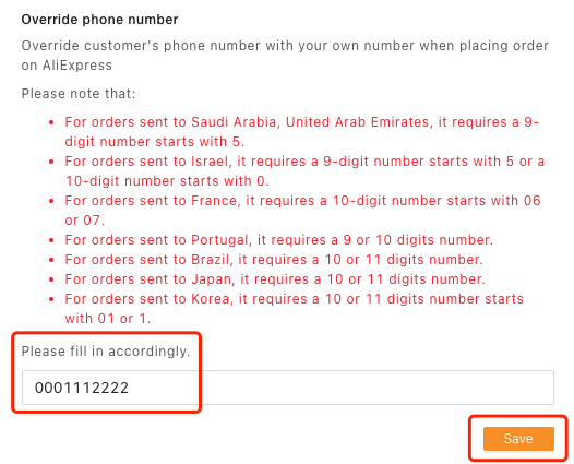 Customer phone number override with Woo DSers - Enter phone number - Woo DSers