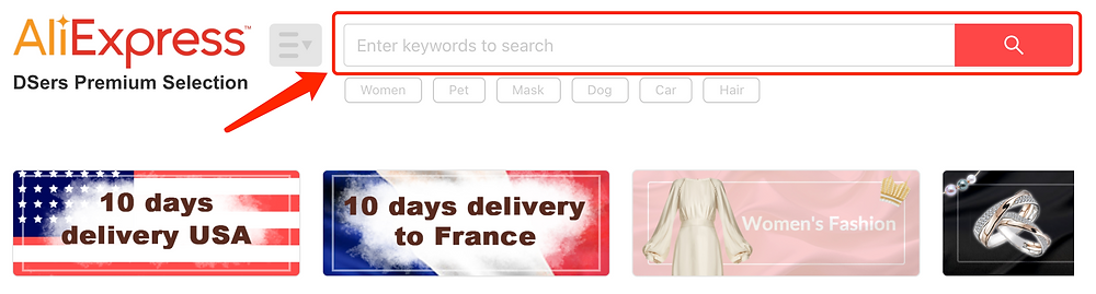 Find Suppliers with DSers - Search Keywords - DSers