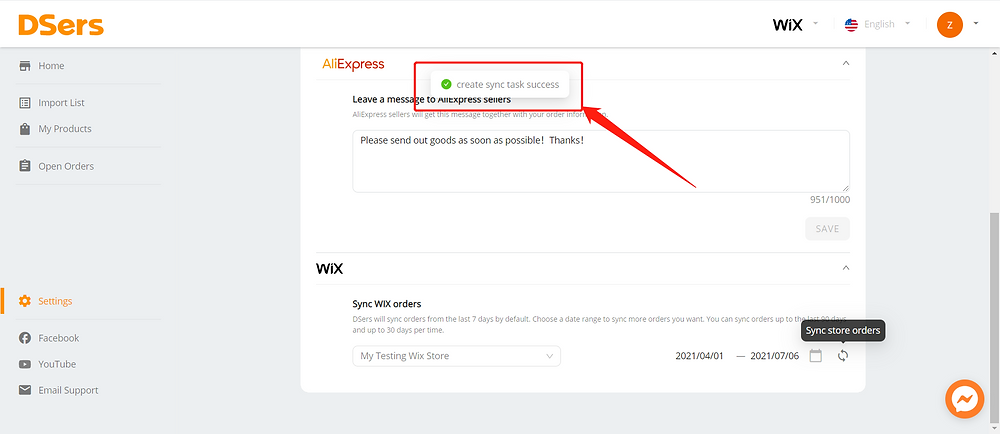 Synchronize your store orders with Wix DSers - create task successfully - Wix DSers