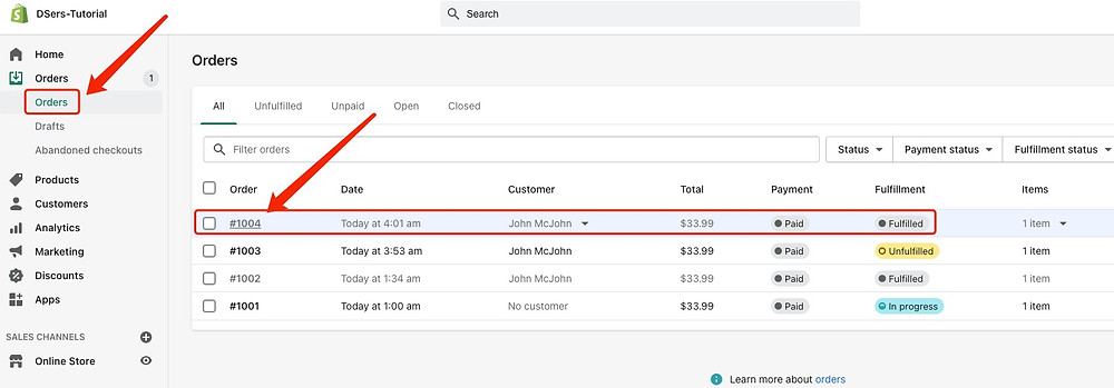 Send tracking number manually - Shopify Orders Page with Fulfilled Order- DSers
