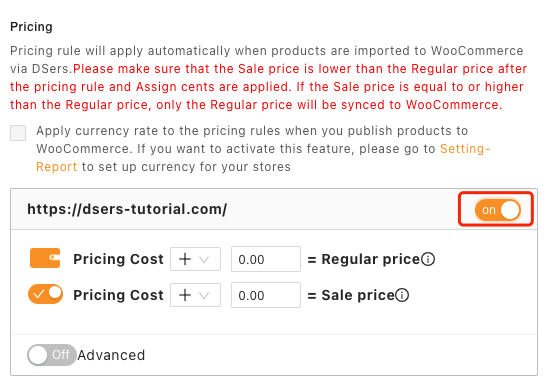 Pricing rules with Woo DSers - Activate Pricing Rules - Woo DSers