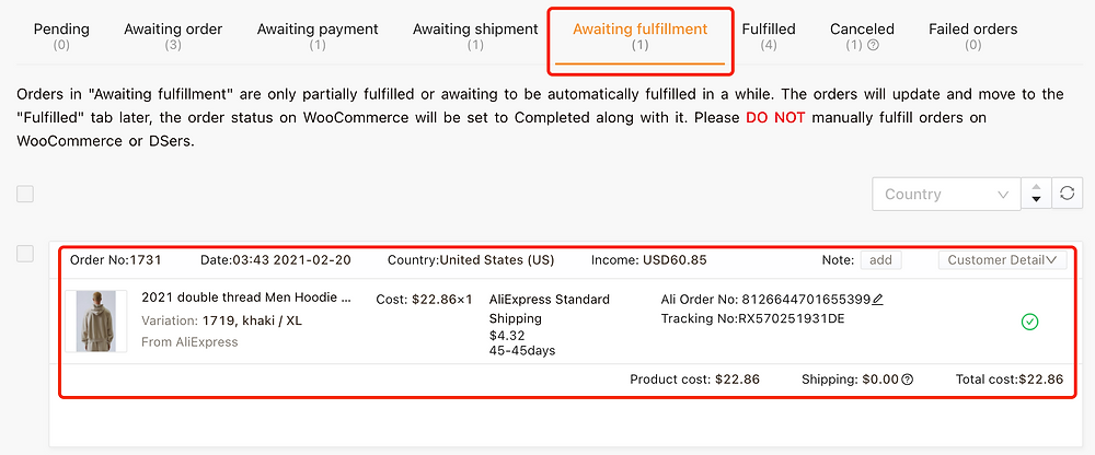 Re-order Awaiting fulfillment order on Woo DSers - Awaiting fulfillment - Woo DSers