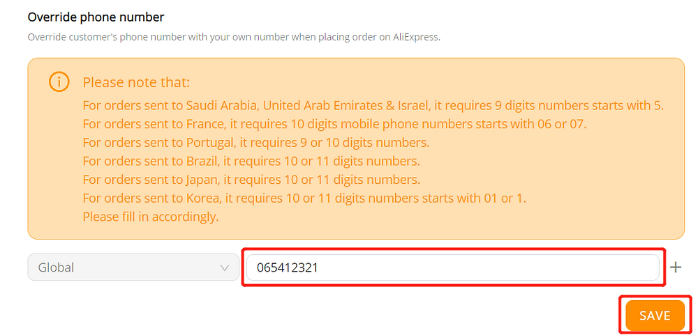 Orders to France specifications with Wix DSers - enter phone number - Wix DSers