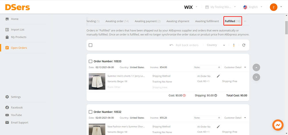 Awaiting fulfillment introduction - fulfilled - Wix DSers