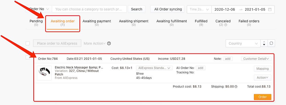 Hide a product with Woo DSers - Example of Awaiting Order page - Woo DSers