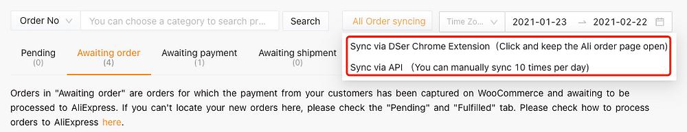 Synchronize AliExpress orders status in Woo DSers - Drop-down list - Woo DSers