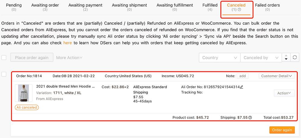 Re-order AliExpress canceled orders on Woo DSers - Canceled tab - Woo DSers