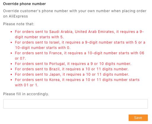 Substituir número de telefone do cliente com Woo DSers - 2 - Woo DSers