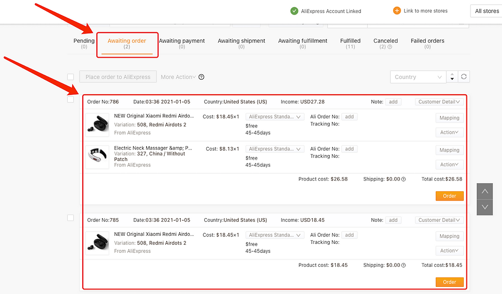 Hide a product with Woo DSers - Example of awaiting order page with unhidden product - Woo DSers