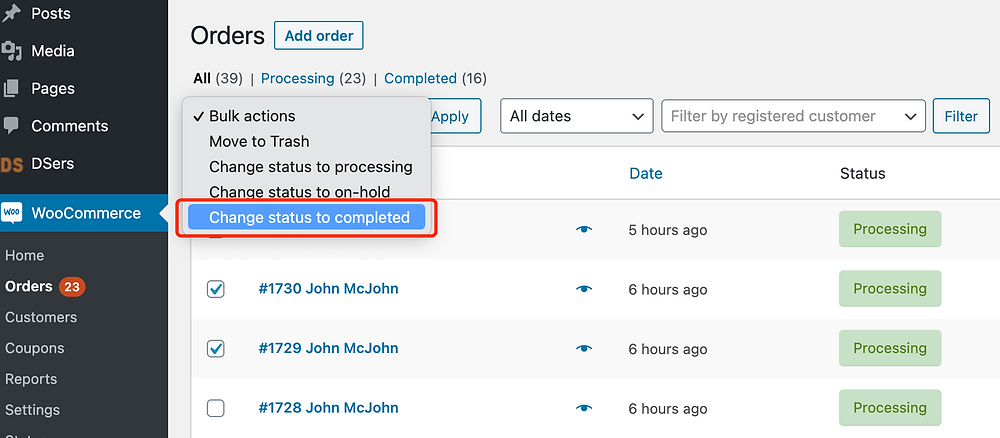 Fulfill orders manually on WooCommerce with Woo DSers - Change status to completed - Woo DSers