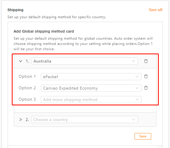 AliExpress Shipping Methods Changes - Country specific shipping setting - DSers