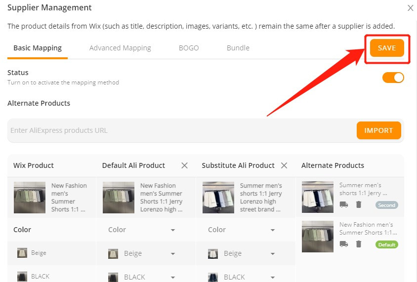 Connect multiple suppliers to one product with Wix DSers - Save the changes - Wix DSers