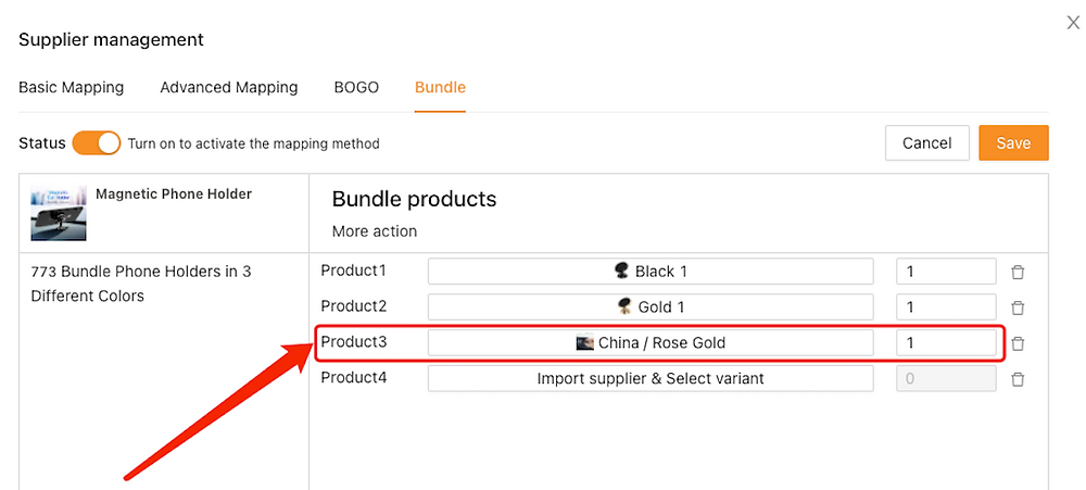 Create Bundles of products with Woo DSers - Mapping of Rose Gold Product - Woo DSers