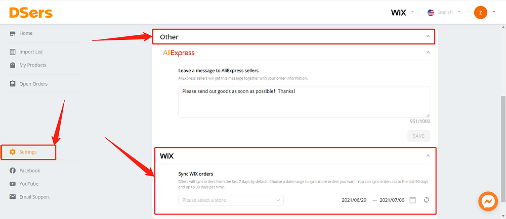 Synchronize your store orders with Wix DSers - Settings - Wix DSers