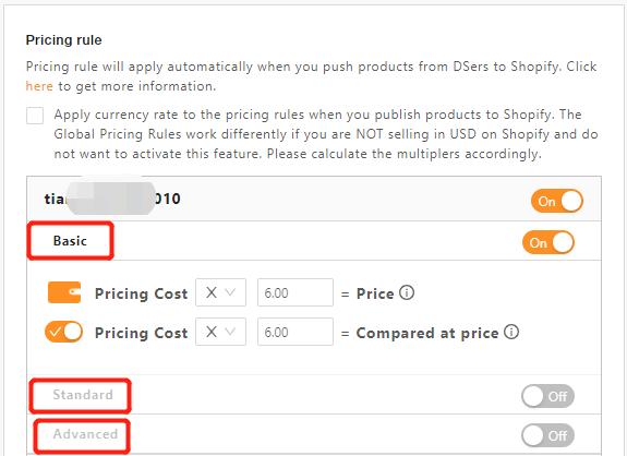 Standard Pricing Rule with DSers - three types of pricing rules - DSers