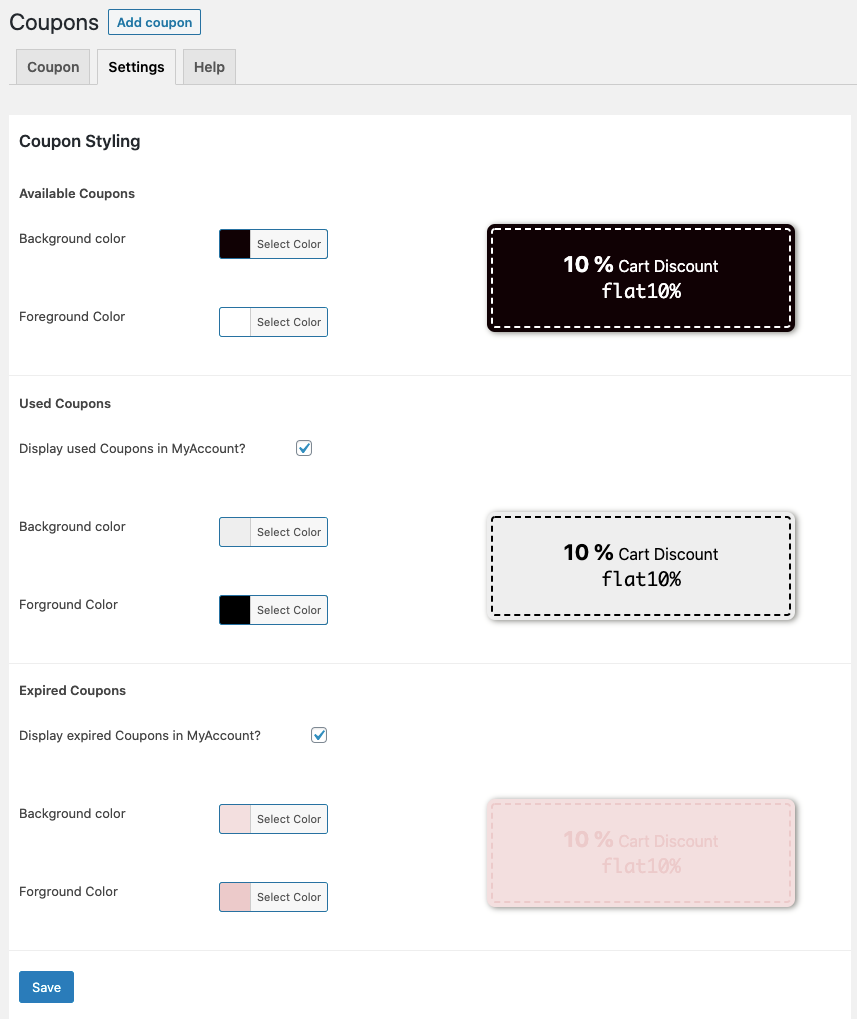 Discover Smart Coupons for WooCommerce - Coupons Settings  - Woo DSers