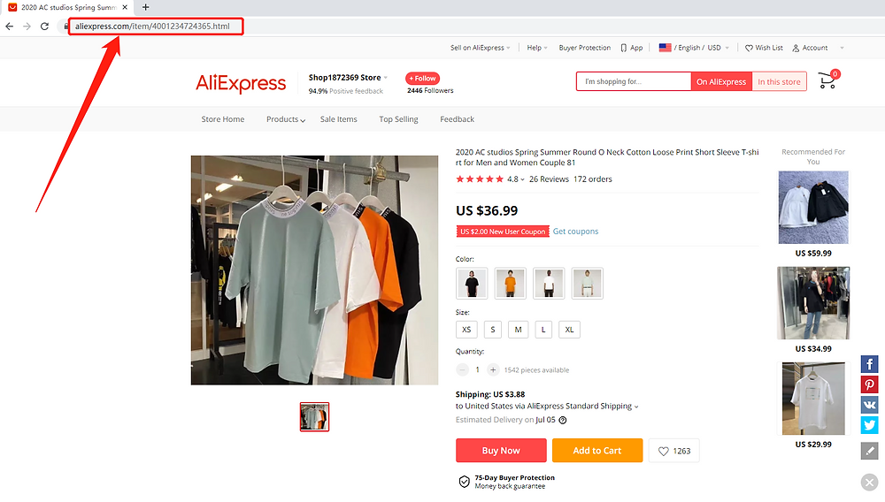 Connect AliExpress suppliers to your products with Wix DSers - Copy the URL of a product - Wix DSers