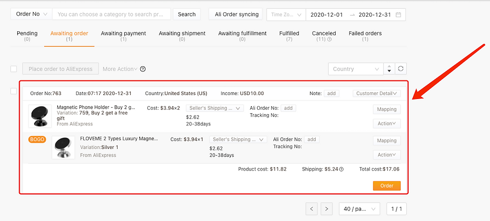 Create Buy One Get One offers with Woo DSers - Example of BOGO order - Woo DSers