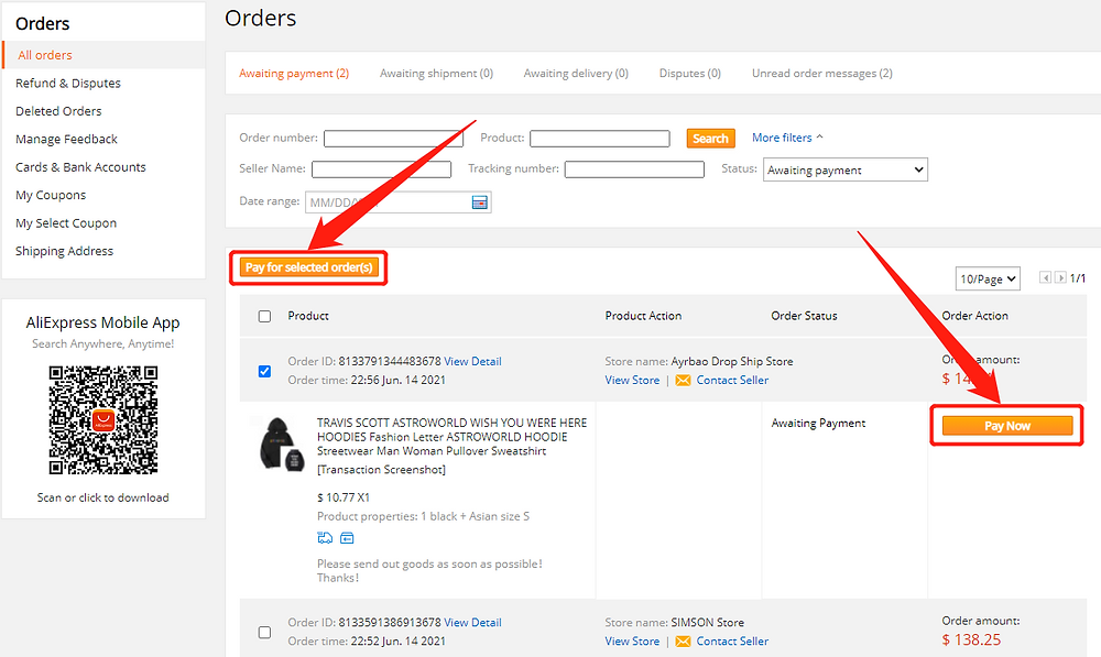 Pay an order on AliExpress with Wix DSers - pay for the order - Wix DSers