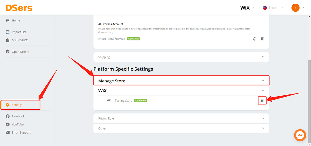 Remove a Wix store - manage store - Wix DSers
