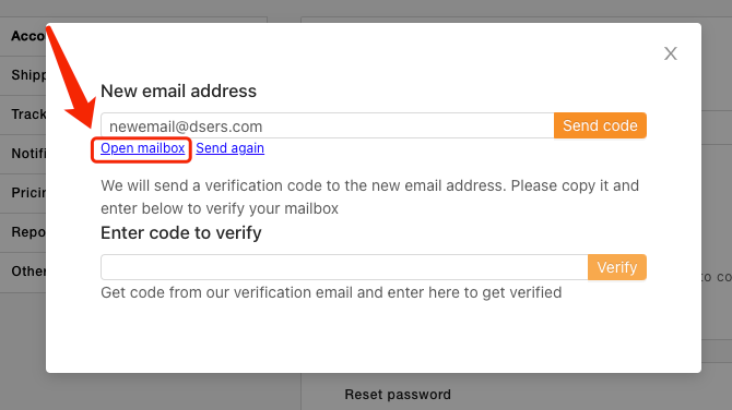 Change login email - Open Mailbox - DSers