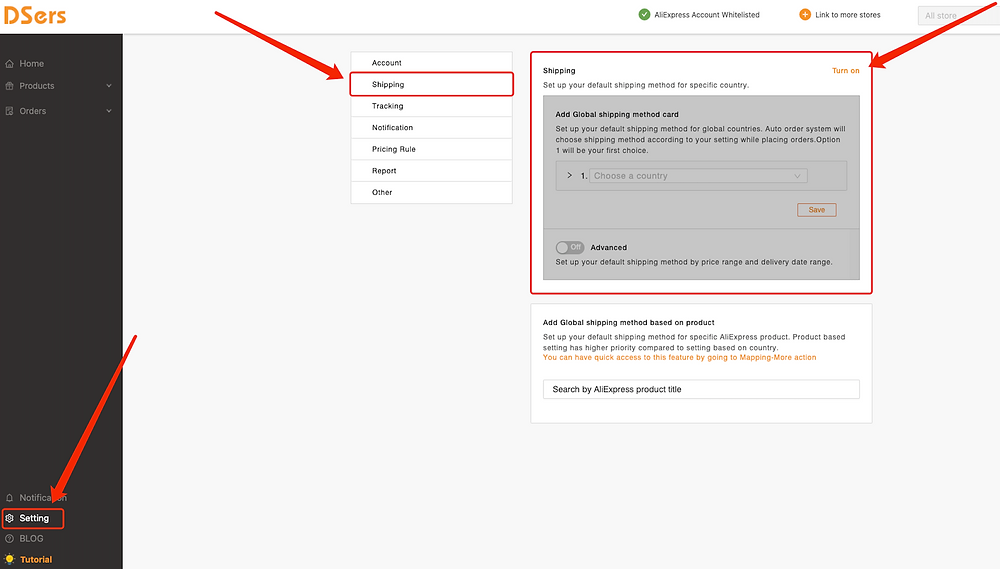 Set shipping method for all products with Woo DSers - Access shipping setting - Woo DSers
