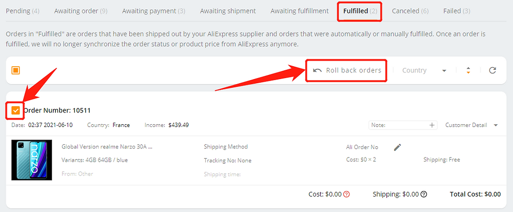 Cancel fulfillment of an order on Wix DSers - roll back orders - Wix DSers