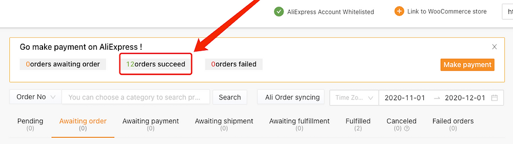Fulfill multiple orders from start to finish with Woo DSers - Orders succeed - Woo DSers